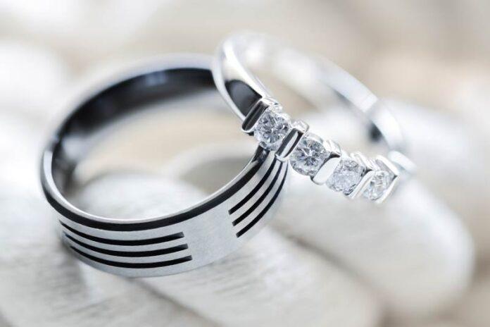 A Nurse's set of wedding rings on display.