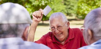 Old Man Playing Cards Image