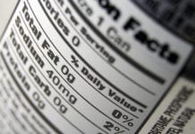 Nutritional facts label zoomed in to highlight the total fat and sodium