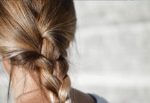 """Close-up of blonde braid"""