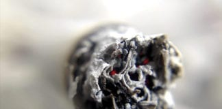 """Close-up of the end of a cigarette"""