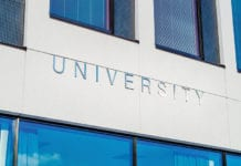 """""""University signage on building"""""""