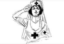 """Saluting nurse illustration"""