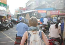 """Woman traveling in India"""