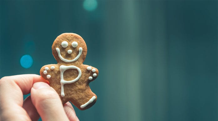"""Hand holding gingerbread cookie"""