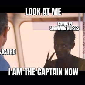 Meme about COVID-19 nurse being the captain of the ship