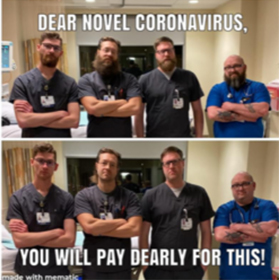 Previously bearded men standing beardless warning the Coronavirus